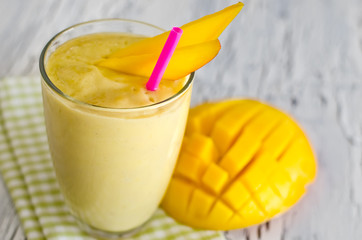 Yellow mango yoghurt smoothie for healthy  breakfast