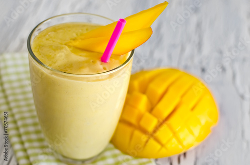 Yellow mango yoghurt smoothie for healthy  breakfast - 70574651