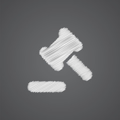 court law sketch logo doodle icon.