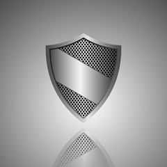 Metal shield icon. Vector