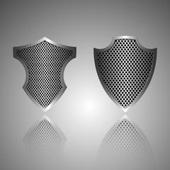 Metal shield icon. Vector