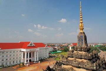 Vientiane cityscape, bird eye view over the city skyline