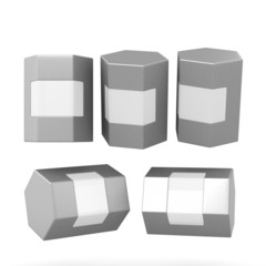 Silver hexagon box packaging with clipping path