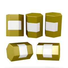 Golden hexagon box packaging with clipping path