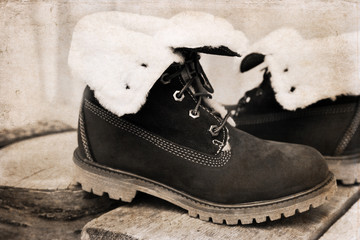 Artwork in retro style, winter warm boots