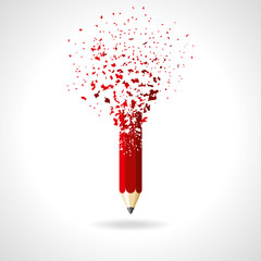 red pencil on a white background. idea