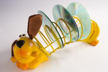 Beautiful ceramic and steel dachshund, cd holder
