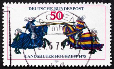Postage stamp Germany 1975 Jousting