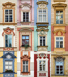 Collage of colorful windows of Prague, Czech Republic