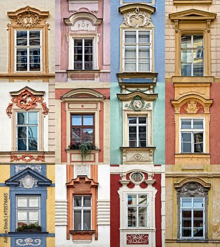 Staande foto Praag Collage of colorful windows of Prague, Czech Republic