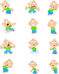 cartoon boy in different positions