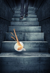 stairs coffee cup