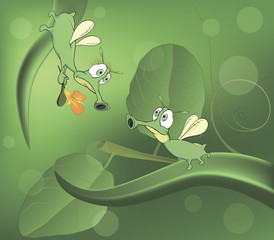 Green glowworms and love cartoon