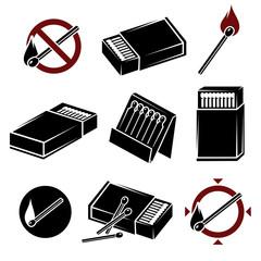 Matches, matchbox set. Vector