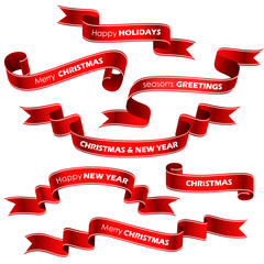 Christmas red ribbons. Vector