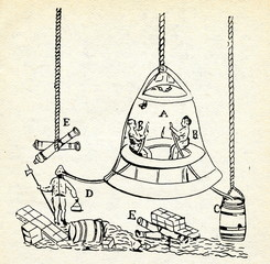 Edmund Halley's diving bell with barrel of air, 1691