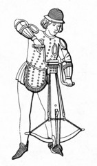 Medieval crossbowmen, cocking crossbow with windlass