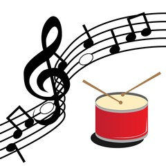 drum in a white background accompanied by musical notes