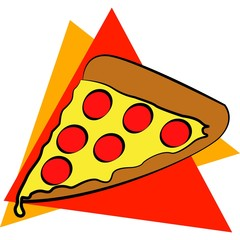 slice of peperoni pizza in a triangular background