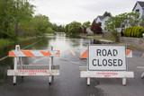 Road Closed Horizontal Flooded Street - 70578898