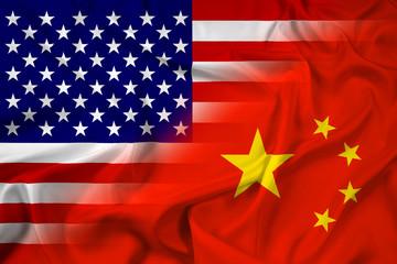 Waving China and USA Flag
