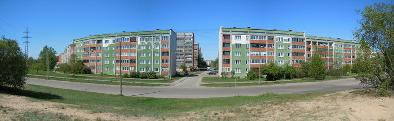 Panoramic view of multistage dwelling houses