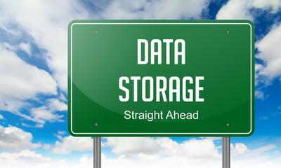 Data Storage on Highway Signpost.
