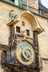 Astronomical clock on old town hall in Prague