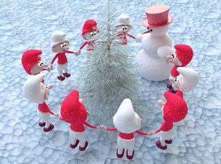 A Christmas Fairy Tale with Gnomes and a Snowman