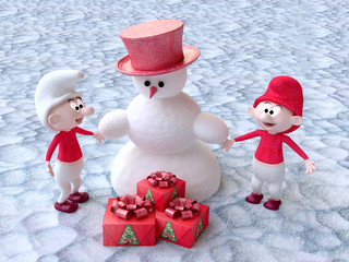 The Snowman and the Gnomes with Christmas Gifts in 3D