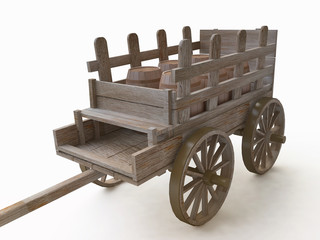3D Old Wooden Wagon ( Carriage)