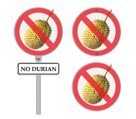 Circle prohibited sign for no Durian allowed ,Isolated on white