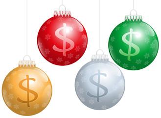 Christmas Balls Dollar Sign