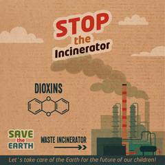 Stop incinerator cardboard illustration