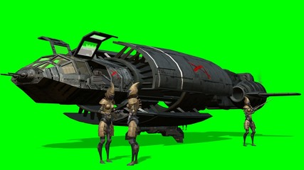 Aliens in front of her spaceship after landing - green screen