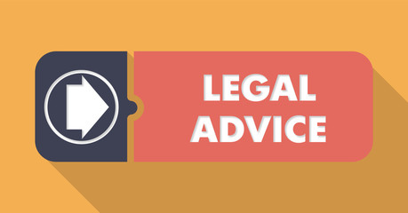 Legal Advice on Orange Background in Flat Design.