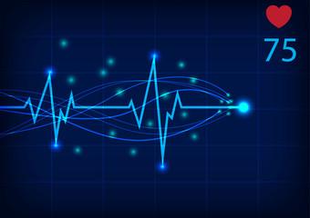Electrocardiogram Monitor Display Vector illustration