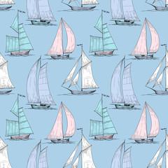 Cute boats sailing on sea seamless pattern