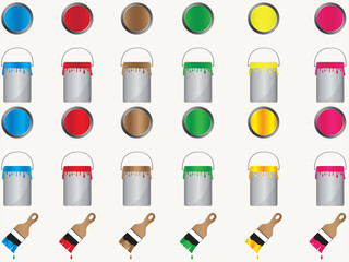 Paint cans and brushes in different colors illustration