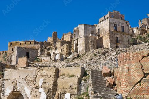 Leinwanddruck Bild Panoramic view of Craco. Basilicata. Italy.