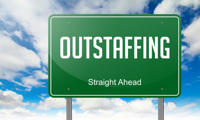 Outstaffing on Green Highway Signpost.
