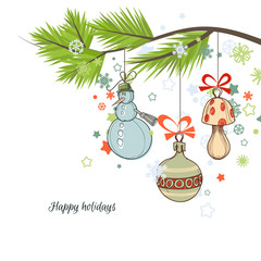 Christmas background, tree branch and cute ornaments