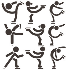Figure skating icons set