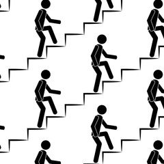 person climbs up the stairs seamless pattern