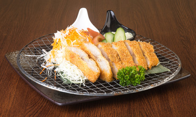 japanese cuisine. fried fish on the background