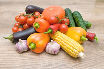 vegetables on a wooden background close up