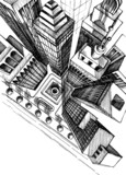 Fototapety Top view of a city skyscrapers drawing, aerial view sketch