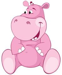 Pink hippopotamus - first teeth