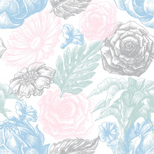 Floral texture in pastel colors seamless pattern
