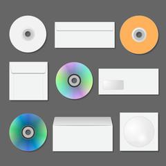 Set of envelopes, disks, covers for CDs.